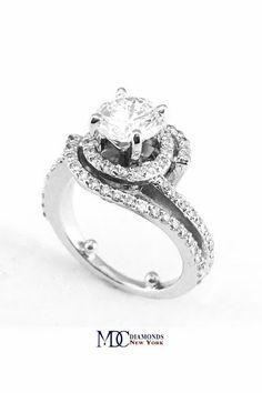 Double Swirl Diamond Halo Engagement Ring & Wrap Wedding Band