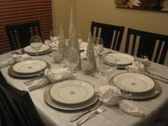 Christmas Silver and White Tablescape 2012