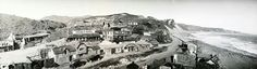 Thomas Ince's movie studio at Sunset Boulevard and the Pacific Ocean, circa 1910. He moved his productions here from Edendale.