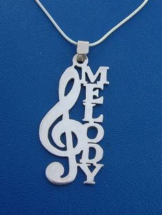 Name Necklace with Music Note any name up to 7 by bestnamenecklace, $39.00