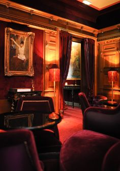 .Maison Souquet, Paris.  This lavish 20-room hotel is dark, mysterious, and sultry—just like the former reputation of its neighborhood in Paris's now trendy 9th arrondissement. From velvet banquettes to fringe lamps and elaborate gold-leaf woodwork, the overall vibe is showgirl chic. Rooms are decorated with textured paisley wallpaper, and there's a Salon d'Eau hammam with a painted night sky of twinkling constellations. From $390/night; maisonsouquet.com