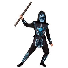 Cyber Ninja αποκριάτικη στολή νίντζα για αγόρια ηλικίας έως δώδεκα ετών. Η στολή αποτελείται από: Μπλούζα Με Κουκούλα, Παντελόνι, Μάσκα, Γιλέκο, Περιβραχιόνια και Περικνημίδες. Δεν περιλαμβάνεται το όπλο. Cyber Ninja, Darth Vader, Fictional Characters, Fantasy Characters