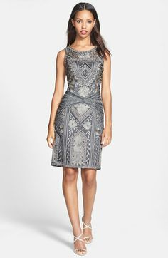 Sue Wong Soutache Embroidered Sheath Dress available at #Nordstrom...pricey, but cool looking!