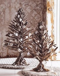 Next Christmas, little driftwood trees for outside