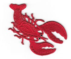 """Lobster - Seafood - Chef - Beach - Embroidered Iron On Applique Patch - 3 3/4"""" C #Unbranded"""