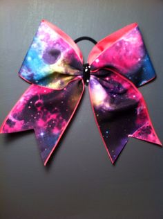 CHEER BOW Galaxy on Pink by LeBow1cheerbows on Etsy https://www.etsy.com/listing/127387897/cheer-bow-galaxy-on-pink