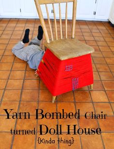 Turn a chair into a dollhouse with a ball of yarn! Such a neat idea for preschoolers.