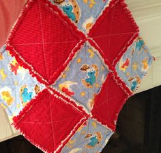 fun baby shower gift! Cuddle Lovey red and blue *ready to ship* by JeanBeanCreations