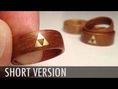 How to make Wood Rings – bent veneer w brass Zelda Triforce inlay – Woodworking Crazy