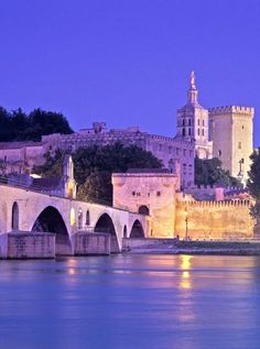 Twilight in Avignon, France. Of the over 90,000 inhabitants of the city, about 12,000 live in the ancient town centre enclosed by its medieval ramparts.