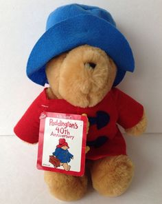 "Stuffed Paddington Bear 1999 Plush 10"" Blue Hat Red Coat With Original Tag #KidsGifts #40thAnniversary"