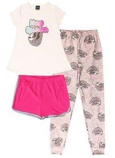 She'll love mixing and matching her three piece sloth pajama set. Sloth Pajamas, Girls Pajamas, Pajamas Women, Baby Sloth, Cute Sloth, Girls 4, These Girls, Jogger Pants, Joggers