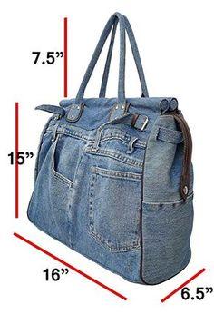 Bijoux De Ja X-Large Blue Denim Double Top Handle Tote Shopper Handbag: Handbags: Amazon.com