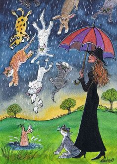 Raining Cats and Dogs  © Marilyn's Miniatures