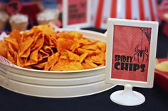 spidey chips for a spiderman party    @Wendy Felts Werley-Williams.BridgeyWidgey.com
