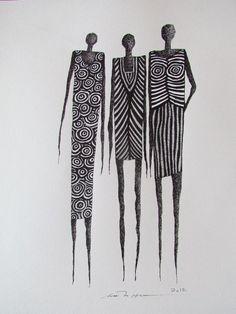 Åse Margrethe Hansen/Waiting for the Bus. Ink drawing, 2012