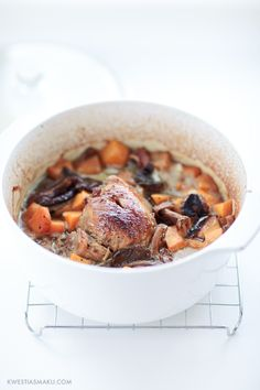 veal roast from the oven. veal roast with mushrooms and pumpkin. casserole with pumpkin