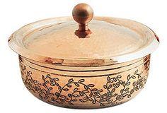 1.3-Qt Copper Engraved Cocotte, Leaves