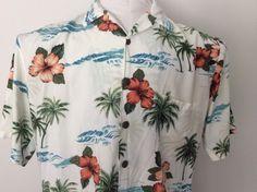 Men's Hilo Hattie Floral White Rayon Short Sleeve Shirt Med Coconut Buttons #HiloHattie #Hawaiian