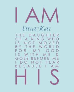 Pottery Barn Brooklyn I Am His Daughter of a King Personalized Scripture Print Baptism Christening Gift Nursery Girl Decor - 8x10 Print on Etsy, $18.00