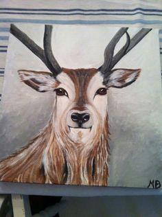Hert geschilderd door margo den boer