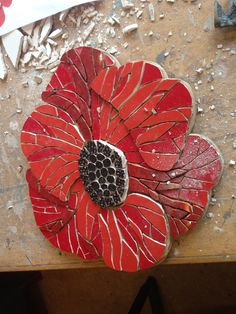 Felicity Ball mosaics: How I made a mosaic poppy!