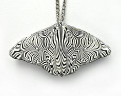 Butterfly Necklace Black and White and Gray by CicadaArtJewelry