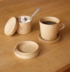 Kami Wood Nesting Coasters.  Designed by Oji Masanori and handcrafted at the Takahashi Kougei wood workshop in Hokkaido.