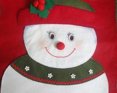 Capa para cadeira Natal - Boneca de Neve