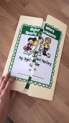 This folder is part of the sight word sports academy! A great way to monitor and track sight word progress ! Preschool Sight Words, Teaching Sight Words, Spelling Activities, Sight Word Activities, Alphabet Activities, Kindergarten Literacy Stations, Kindergarten Reading, Literacy Centers, Sight Words