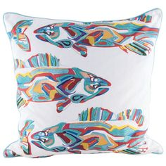 School of Fish Pillow w/ Goose Down Insert design by Lazy Susan ($96) ❤ liked on Polyvore featuring home, home decor, throw pillows, pillows, embroidered throw pillows, fish throw pillows, cotton throw pillows and fish home decor