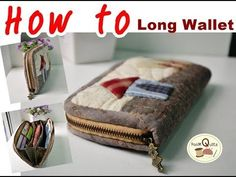 How to : Long Wallet (กระเป๋าสตางค์ใบยาว) Handmade Diy Denim Wallet, Sew Wallet, Fabric Wallet, Diy Bags Tutorial, Wallet Tutorial, Hand Applique, Patchwork Bags, Quilted Bag, Bag Quilt