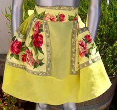 Vintage Mid Century Apron Decorator Chintz Yellow by dyenah