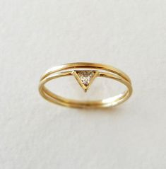 Trillion Diamond Wedding Ring Set 14k Gold by artemer on Etsy