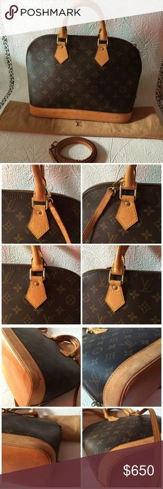 Louis Vuitton monogram alma pm with strap Exterior: Minor rubs on the leather parts Unnoticeable scratches, water mark on the leather parts Unnoticeable scratches on the whole parts Watermark on the all of bottom parts Minor rubs on the edge of the bottom HW: scratches on the zipper's tag Width (inch) : 12.5 inch(approx) Height (inch) : 9.44 inch(approx) Depth (inch) : 6.69 inch(approx) Handle (inch) : 10.24 inch Color : Browns Material :Monogram Come with : Dust Bag Country of Manufacture…