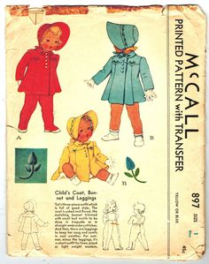 McCall 897 ©1941  Childs Coat, Bonnet and Leggings. Tots three-piece outfit which is full of good style. The coat is yoked and flared, the matching bonnet trimmed with small leaf motifs to be done in trapunto or in straight embroidery stitches. And then, there are leggings to keep her snug and comfy in cool weather. For summer, minus the leggings, its a smart outfit for linen, pique, or light weight woolens 20 pieces plus transfer  Adorable heirloom coat...what a super new baby gift!  Size 1…