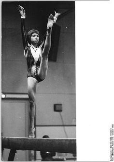 Gymnast Maxi Gnauck performing on balance beam (1982).