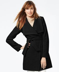 Jessica Simpson Faux-Leather-Trim Belted Wrap Coat    macys.com