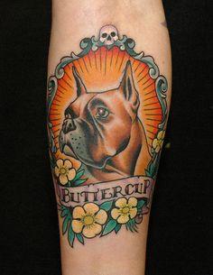 Russ Abbott of Ink & Dagger Tattoo Parlour in Decatur, Georgia Trendy Tattoos, Cool Tattoos, Traditional Tattoo Dog, Body Art Tattoos, Sleeve Tattoos, Boxer Dog Tattoo, Boxer Pup, Small Dog Tattoos, Tatuagem Old Scholl