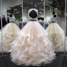 Gergeous Crystal Beading Two Piece Tulle Prom Dress, Long Evening Dress CF851 on Luulla