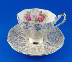 Roses with Gold Chintz Design Queen Anne Tea Cup and Saucer Set