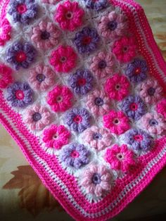 Granny+Square+American+girl+doll+blanket.+Pink+harmony+doll+afghan...