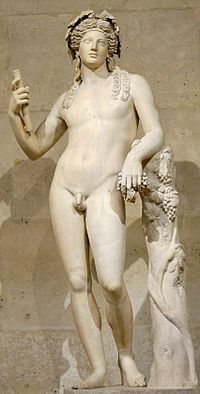 DIONYSUS-The god of wine, parties and festivals, madness, chaos, drunkenness and pleasure at forever young. He was depicted in art as either an older bearded god or a pretty effeminate, long-haired youth. His attributes include the thyrsus (a pinecone-tipped staff), drinking cup, grape vine, and a crown of ivy. Animals sacred to him include dolphins, serpents, tigers, and donkeys. A later addition to the Olympians, in some accounts he replaced Hestia.