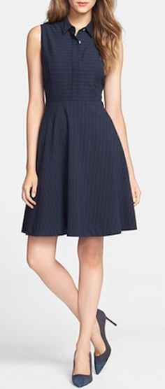 Look sharp in this pinstripe fit and flare dress http://rstyle.me/n/p5t9mnyg6