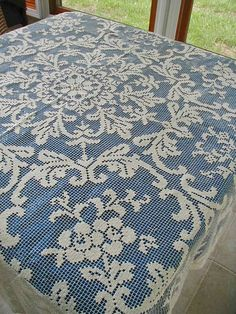 Filet Lace or Knotted or Darned Net Tablecloth 60 x 60 Hand Made from shebang on Ruby Lane