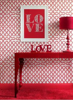 valentine decor- framed love, and painted LOVE.