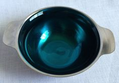 Vintage Cromargan Stainless Metal Bowl With Turquoise Glass Insert Germany #Cromargan