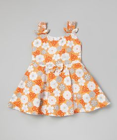 This Orange Floral Pleated Dress - Infant, Toddler & Girls by Sam de Fleur is perfect! #zulilyfinds