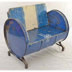Oil drum seat and chairs at Smithers will offer something industrial in your living room and outdoor seating. For Contact Business Furniture. Car Furniture, Barrel Furniture, Retro Furniture, Recycled Furniture, Furniture Design, Drum Seat, Drum Chair, Drum Table, Sofa Chair