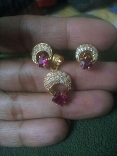 Diamond and ruby earring and pendant set